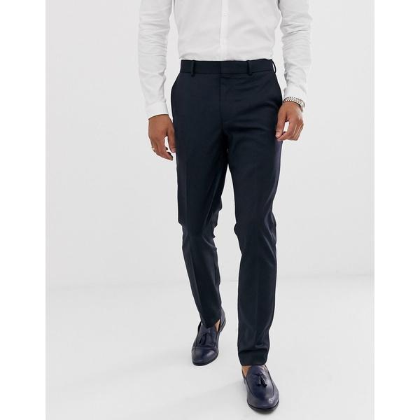 エイソス メンズ カジュアルパンツ ボトムス ASOS DESIGN skinny wool tuxedo suit pants in navy Navy