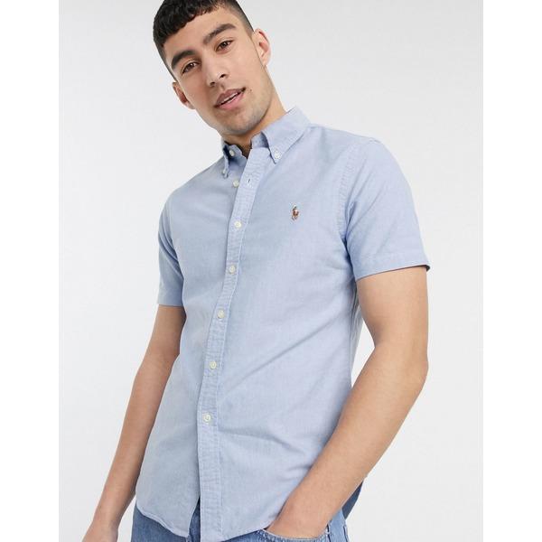 ラルフローレン メンズ シャツ トップス Polo Ralph Lauren short sleeve oxford shirt slim fit multi player logo in blue exclusive to ASOS Blue