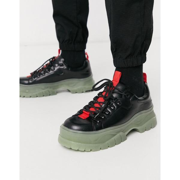 エイソス メンズ スニーカー シューズ ASOS DESIGN lace up shoes in black faux leather with glow in the dark chunky sole Black