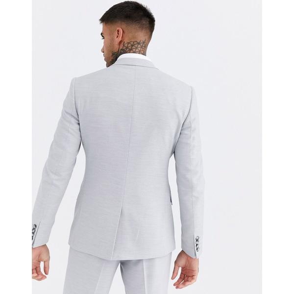 エイソス メンズ ジャケット&ブルゾン アウター ASOS DESIGN wedding skinny suit jacket in ice gray micro texture Ice gray