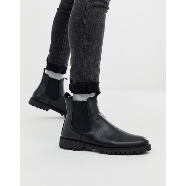 セレクテッドオム メンズ ブーツ&レインブーツ シューズ Selected Homme chunky sole leather chelsea boots in black Black