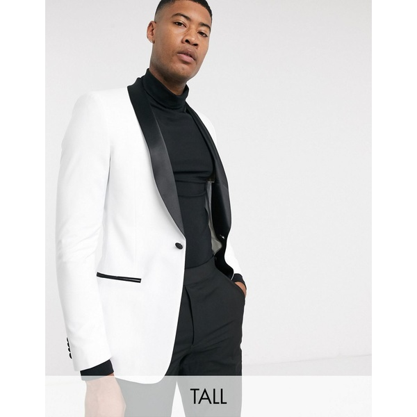 エイソス メンズ ジャケット&ブルゾン アウター ASOS DESIGN Tall skinny tuxedo suit jacket in white with black lapels White