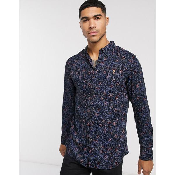 ファーラー メンズ シャツ トップス Farah Blackstar long sleeve shirt Black