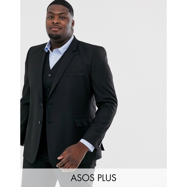 エイソス メンズ ジャケット&ブルゾン アウター ASOS DESIGN Plus slim suit jacket in black Black
