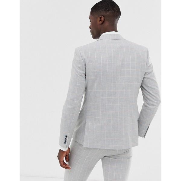 モスブロス メンズ ジャケット&ブルゾン アウター Moss London slim suit jacket in gray windowpane check with stretch Gray