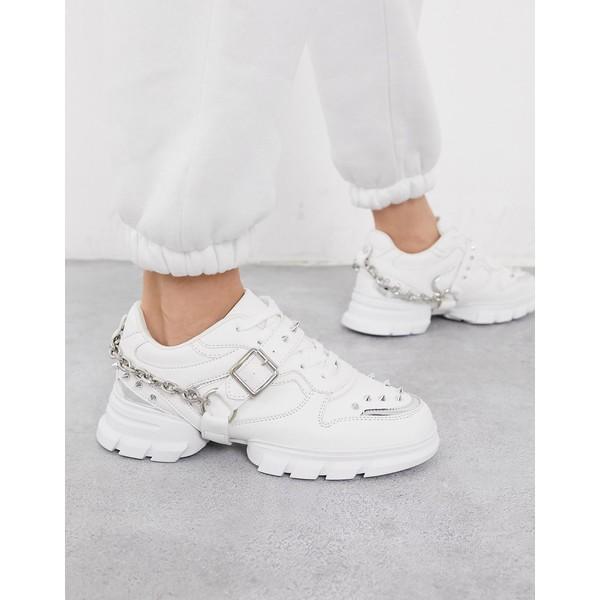 エイソス レディース スニーカー シューズ ASOS DESIGN Defiant chunky studded sneakers with chain in white White