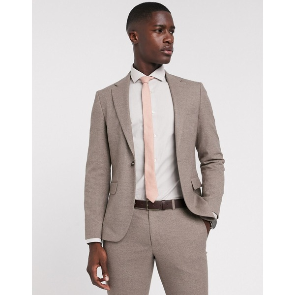 モスブロス メンズ ジャケット&ブルゾン アウター Moss London slim fit suit jacket in tan Tan