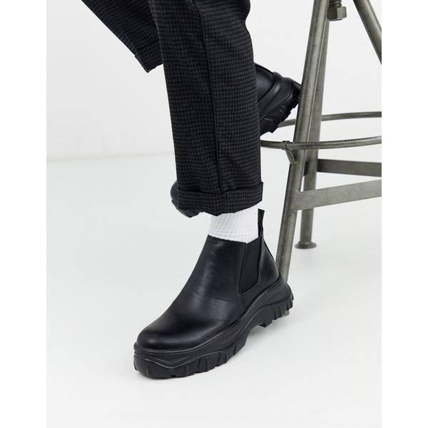 トゥラッフル メンズ ブーツ&レインブーツ シューズ Truffle Collection chunky chelsea boot in black Black
