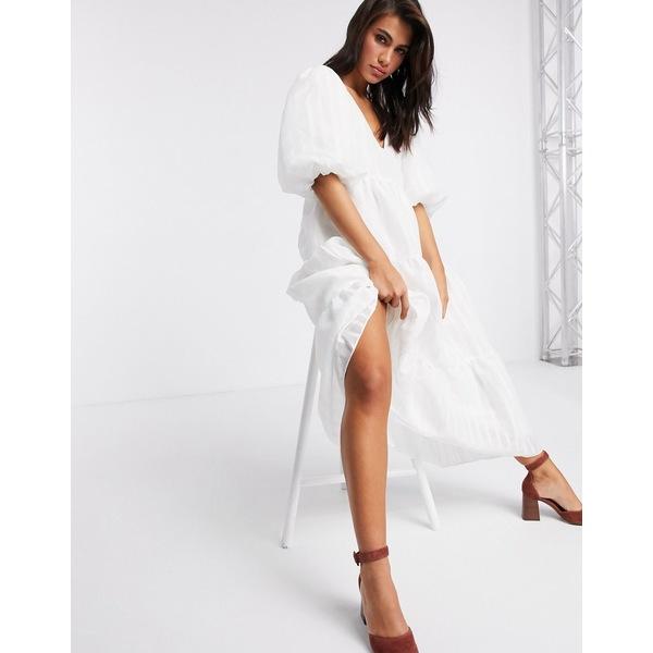 エイソス レディース ワンピース トップス ASOS EDITION tiered midi smock dress in textured stripe White