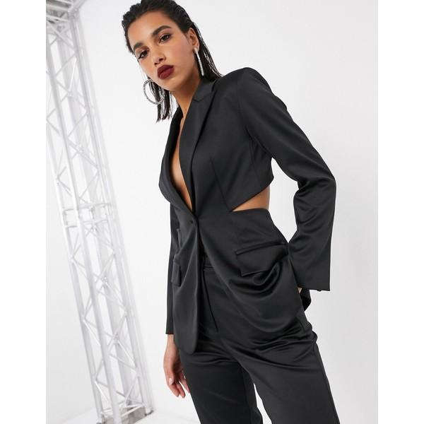 エイソス レディース ジャケット&ブルゾン アウター ASOS EDITION bonded satin jacket with cut out back Black