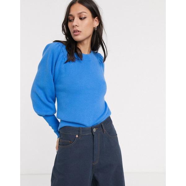 セレクティッド レディース ニット&セーター アウター Selected Femme sweater with volume sleeve in blue Blue
