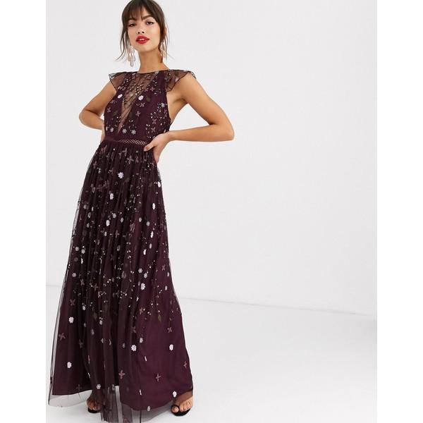 エイソス レディース ワンピース トップス ASOS DESIGN pretty embroidered floral and sequin mesh maxi dress Oxblood