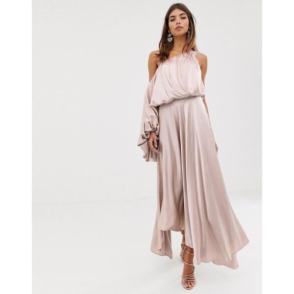 エイソス レディース ワンピース トップス ASOS EDITION blouson one shoulder dress in satin Mink