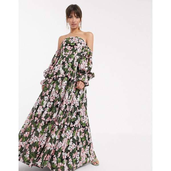 エイソス レディース ワンピース トップス ASOS EDITION off shoulder embroidered maxi dress Multi