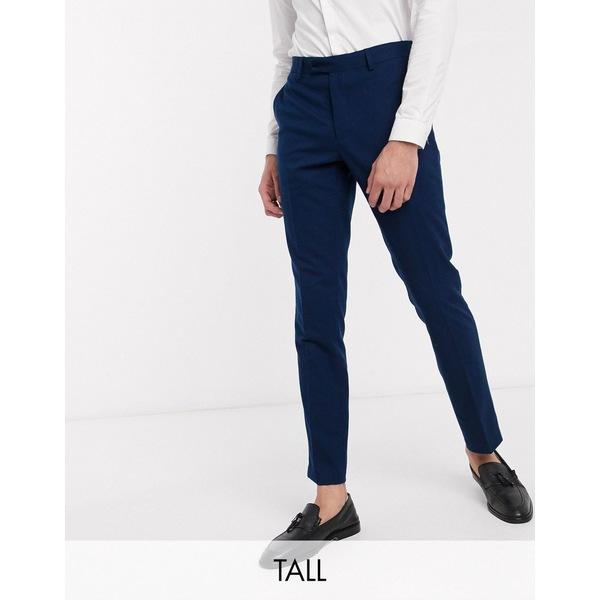 フレンチコネクション メンズ カジュアルパンツ ボトムス French Connection TALL wedding slim fit flannel suit pants Blue
