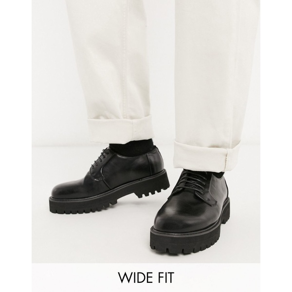 エイソス メンズ スニーカー シューズ ASOS DESIGN Wide Fit lace up shoes in black faux leather with chunky sole Black