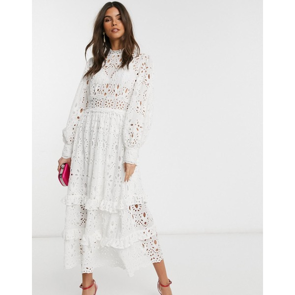エイソス レディース ワンピース トップス ASOS EDITION broderie midi dress with balloon sleeves White