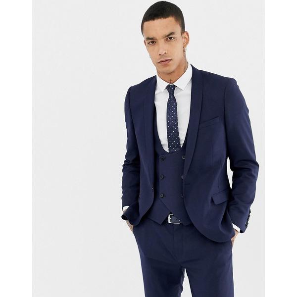 ツイステッドテイラー メンズ ジャケット&ブルゾン アウター Twisted Tailor Hemmingway super skinny wool mix suit jacket in navy Navy