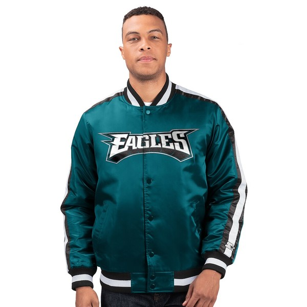 スターター メンズ ジャケット&ブルゾン アウター NFL The OLine Varsity Jacket NFL | Philadelphia Eagles | Black