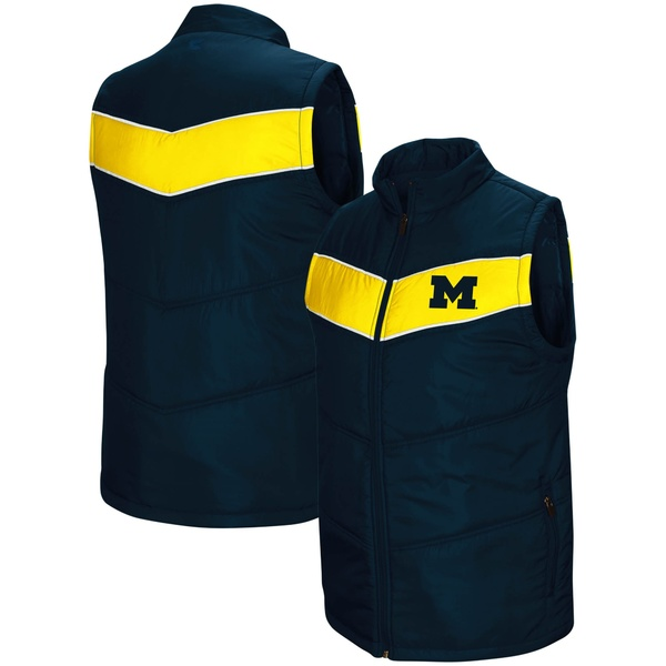 コロシアム メンズ ジャケット&ブルゾン アウター Michigan Wolverines Colosseum Red Beaulieu Puff FullZip Vest Navy