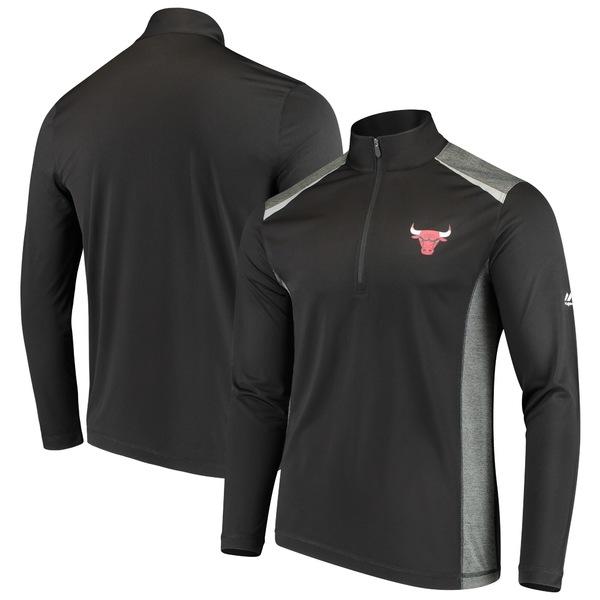 マジェスティック メンズ ジャケット&ブルゾン アウター Chicago Bulls Majestic Loose Ball HalfZip Pullover Jacket Black