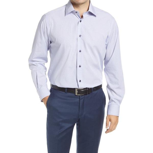 デイビッドドナヒュー メンズ シャツ トップス Regular Fit Dobby Check Dress Shirt White/ Lilac