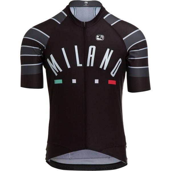 ジョルダーノ メンズ サイクリング スポーツ Moda Scatto Pro Short-Sleeve Jersey - Men's Black/Grey