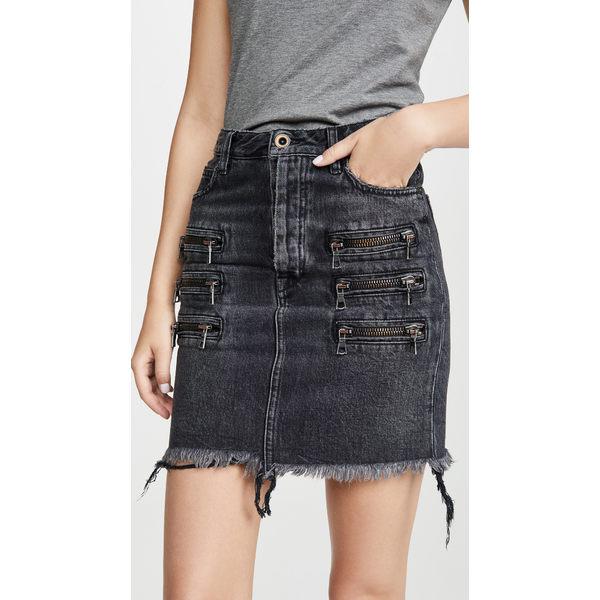 アンラベル プロジェクト レディース スカート ボトムス Triple Zip Denim Skirt Black