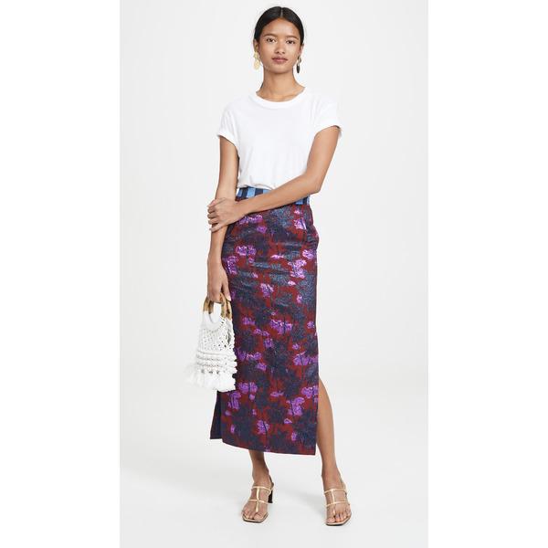ステラ ジーン レディース スカート ボトムス Palm Tree Midi Skirt Bordeaux Jacquard