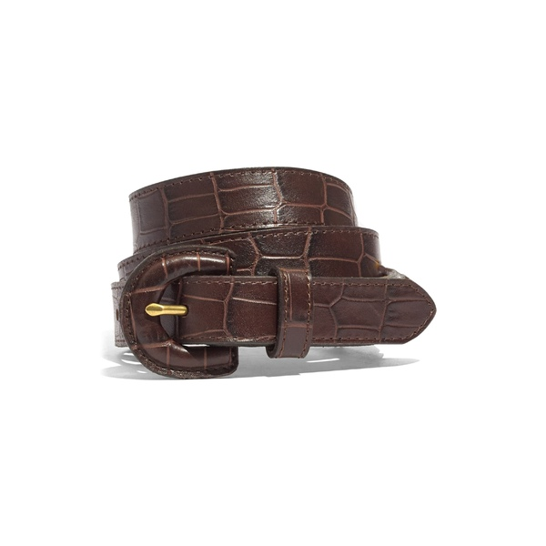 メイドウェル レディース ベルト アクセサリー Madewell Croc Embossed Leather Wrapped Buckle Belt Dark Coffee