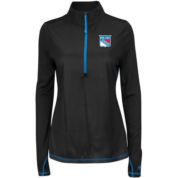 マジェスティック レディース ジャケット&ブルゾン アウター New York Rangers Majestic Women's Athleisure Backchecking Half-Zip Jacket Black