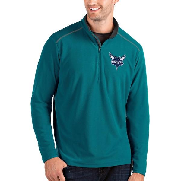 アンティグア メンズ ジャケット&ブルゾン アウター Charlotte Hornets Antigua Glacier Quarter-Zip Pullover Jacket Teal/Gray