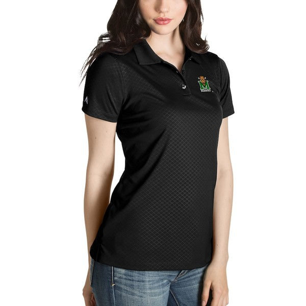 アンティグア レディース ポロシャツ トップス Marshall Thundering Herd Antigua Women's Desert Dry Inspire Polo Black