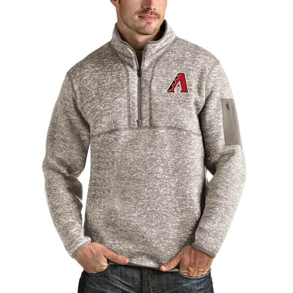 アンティグア メンズ ジャケット&ブルゾン アウター Arizona Diamondbacks Antigua Fortune Quarter-Zip Pullover Jacket Oatmeal