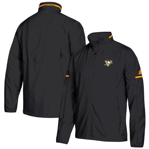 アディダス メンズ ジャケット&ブルゾン アウター Pittsburgh Penguins adidas Rink Full-Zip Jacket Black