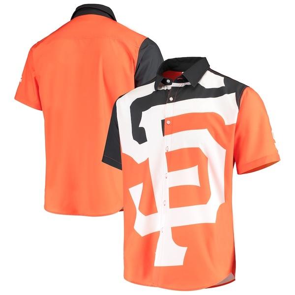 フォコ メンズ シャツ トップス San Francisco Giants Big Logo Button-Up Shirt Orange