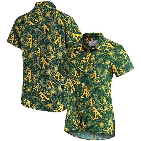 フォコ レディース シャツ トップス Oakland Athletics Women's Tonal Print Button-Up Shirt Green/Gold