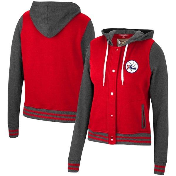 ミッチェル&ネス レディース ジャケット&ブルゾン アウター Philadelphia 76ers Mitchell & Ness Women's Hardwood Classics Varsity Fleece Full Snap Hoodie Jacket Red