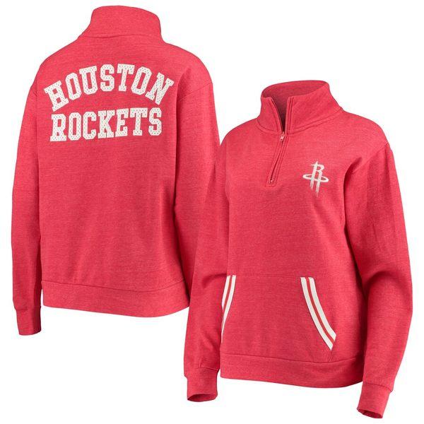 ニューエラ レディース ジャケット&ブルゾン アウター Houston Rockets New Era Women's Striped Trim Tri-Blend Half-Zip Pullover Jacket Red