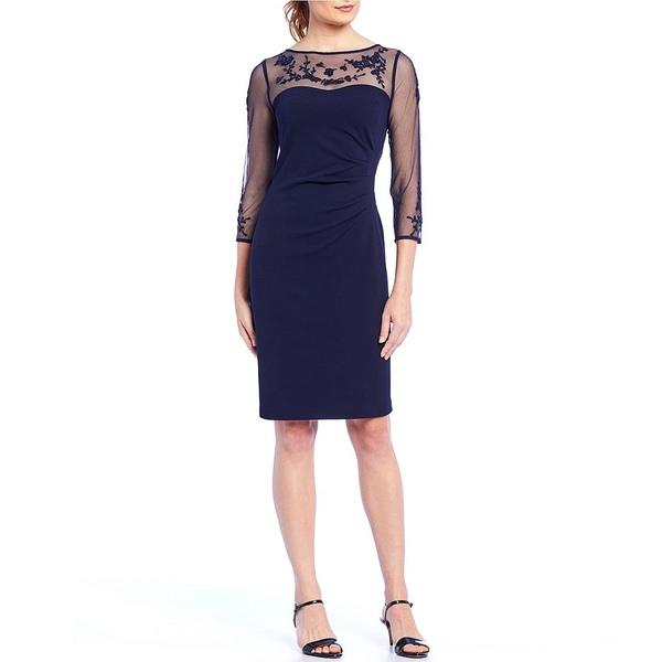 カールラガーフェルド レディース ワンピース トップス Lace Embroidered Illusion Sleeve Sheath Dress Navy