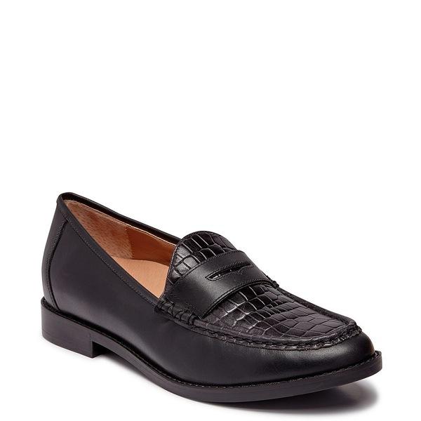 バイオニック レディース サンダル シューズ Waverly Croc Embossed Leather Penny Loafers Black