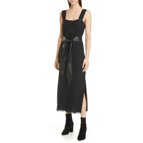 ナヌーシュカ レディース ワンピース トップス Rita Vegan Leather Trim Cotton & Linen Blend Midi Dress Black