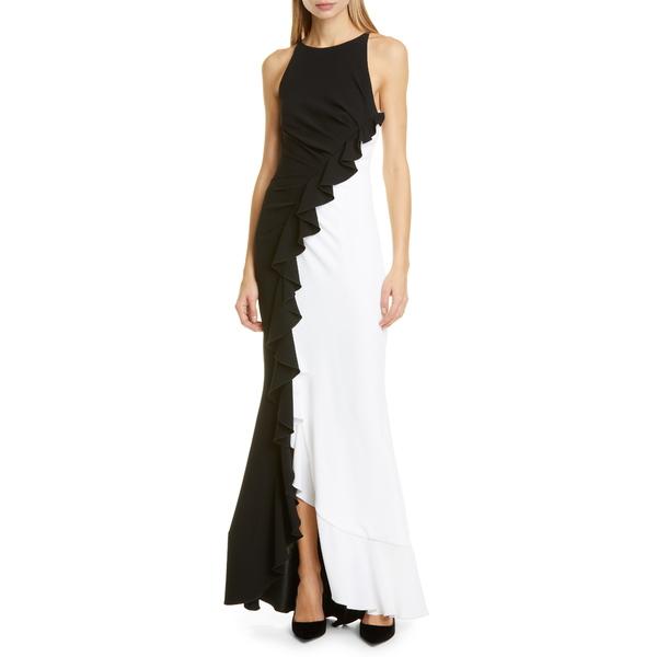 タルボールホフ レディース ワンピース トップス Ruffle Bi-Color Gown Black