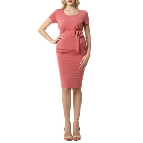 キミアンドカイ レディース ワンピース トップス Lana Ruched Belted Maternity Dress Rosette