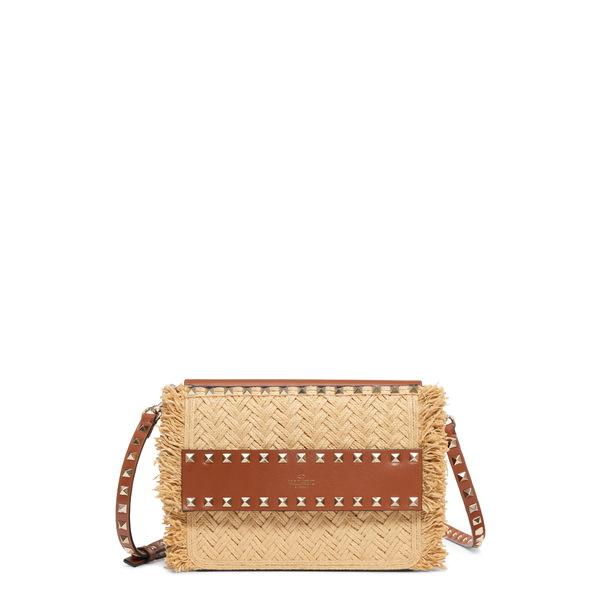 ヴァレンティノ ガラヴァーニ レディース ショルダーバッグ バッグ Small Rockstud Raffia & Leather Shoulder Bag Naturale/ Selleria