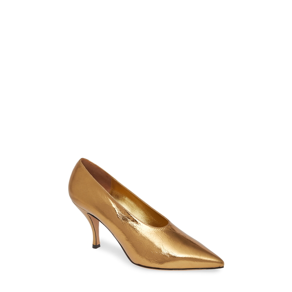 ドリス・ヴァン・ノッテン レディース パンプス シューズ Metallic Pointed Toe Pump Gold