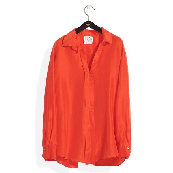 フォルテ フォルテ レディース シャツ トップス Split Back Silk Habotai Shirt Zafferano