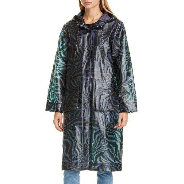 ガニー レディース コート アウター Tiger Print Water Repellent Biodegradable Raincoat Forever Blue