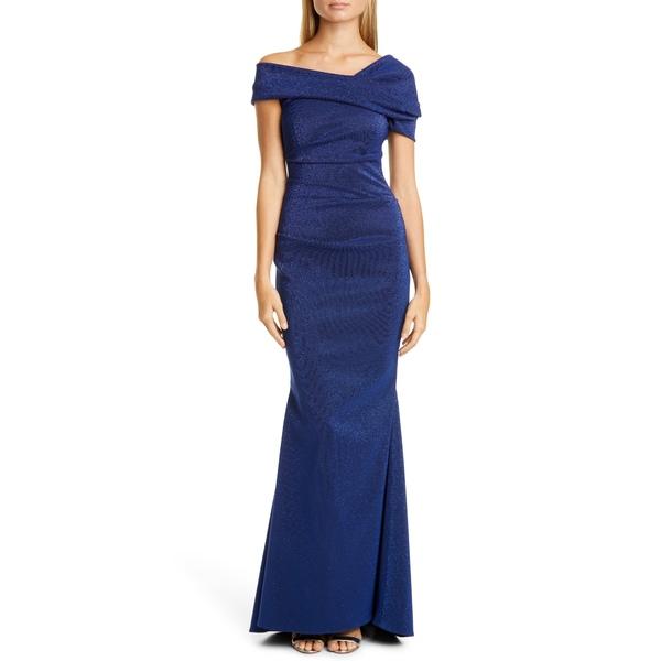 タルボールホフ レディース ワンピース トップス Sequin Glitter Asymmetrical Mermaid Gown Royal