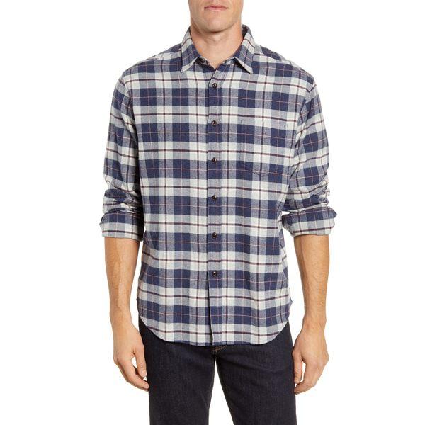 レイルズ メンズ シャツ トップス Regular Fit Forrest Plaid Button-Up Flannel Shirt Grey/ Navy/ Brick